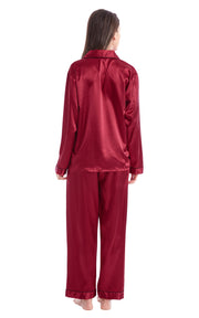 Women's Silk Satin Pajama Set Long Sleeve-Burgundy with Black Piping