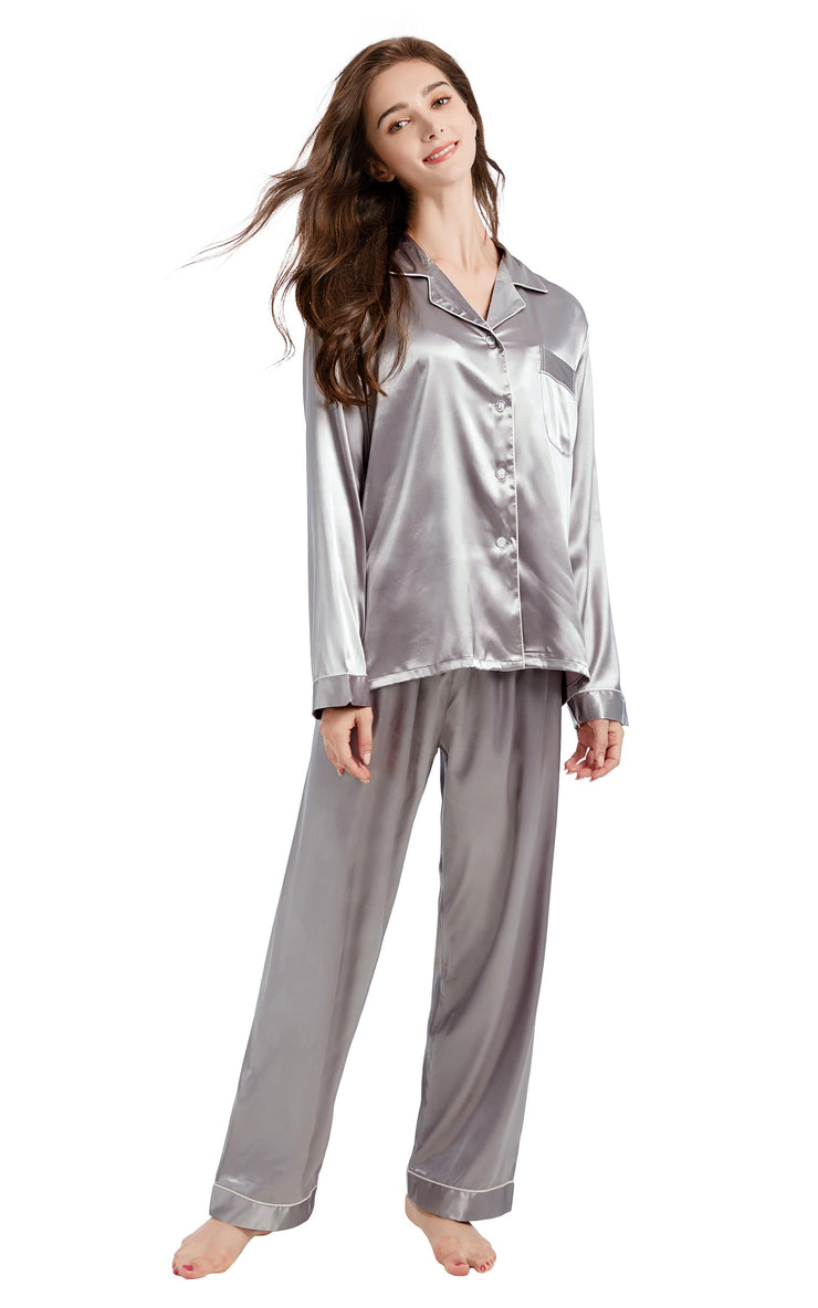 Women's Silk Satin Pajama Set Long Sleeve-Gray with White Piping