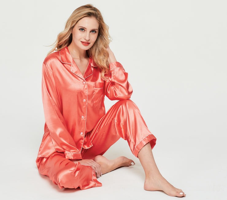Women's Silk Satin Pajama Set Long Sleeve-Living Coral with White Piping