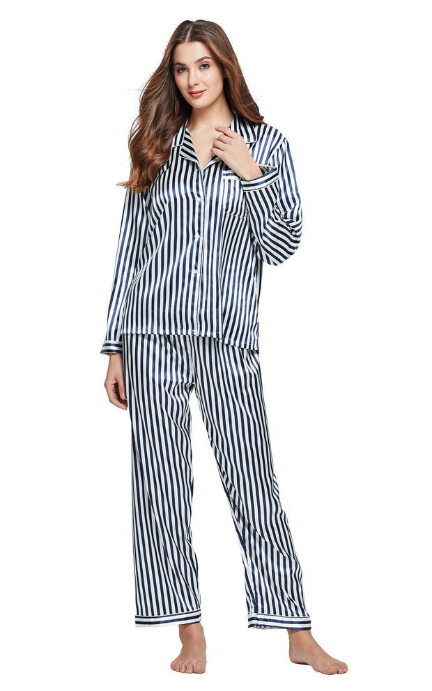 Women's Silk Satin Pajama Set Long Sleeve-Navy and White Striped