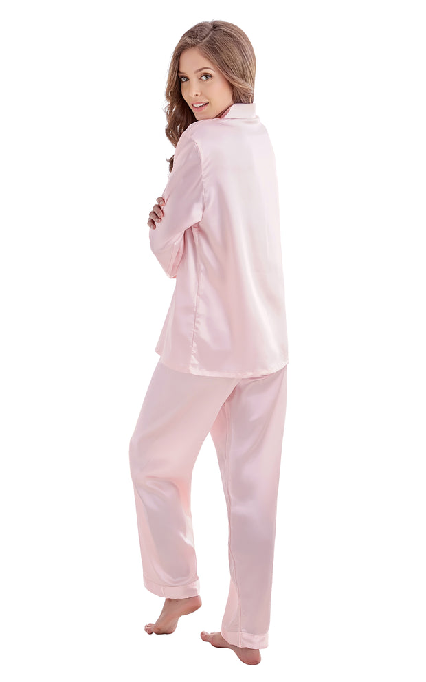 Women's Silk Satin Pajama Set Long Sleeve-Light Pink with White Piping