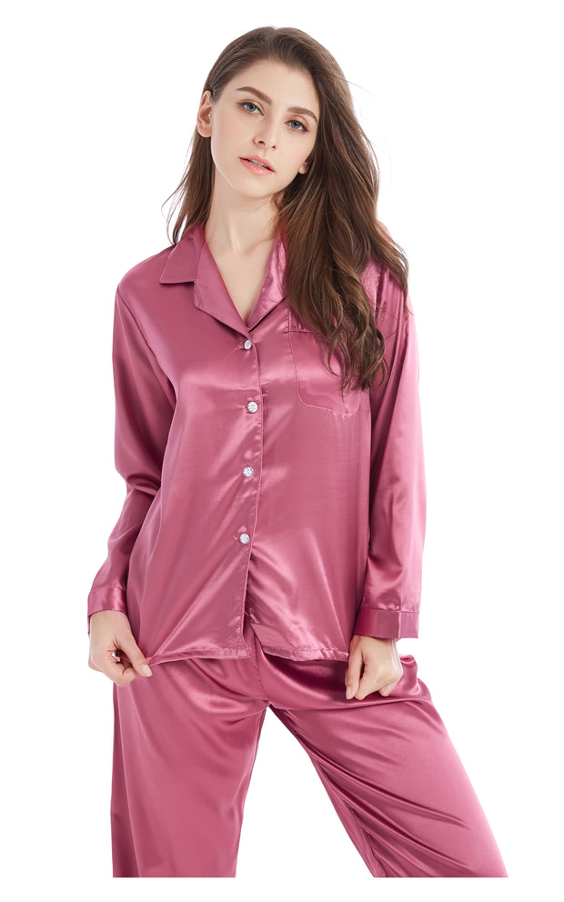 Women's Silk Satin Pajama Set Long Sleeve-Soft Plum