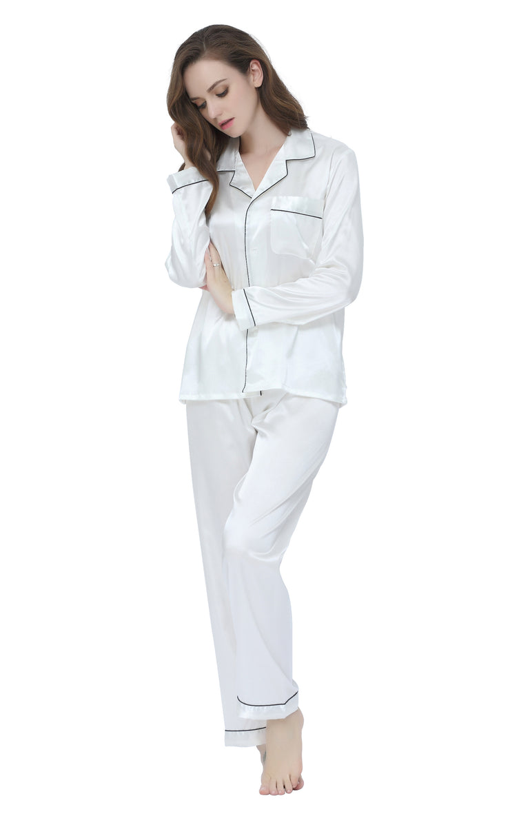 Women's Silk Satin Pajama Set Long Sleeve-White with Black Piping