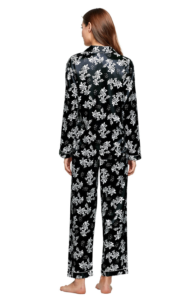 Women's Silk Satin Pajama Set Long Sleeve-Black with White Floral Print