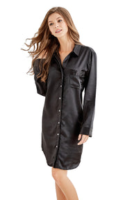 Women's Satin Nightshirt Boyfriend Style Sleep Shirt-Black