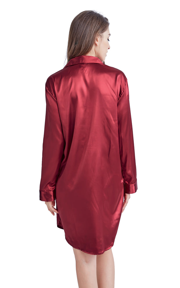 Women's Satin Nightshirt Boyfriend Style Sleep Shirt-Burgundy