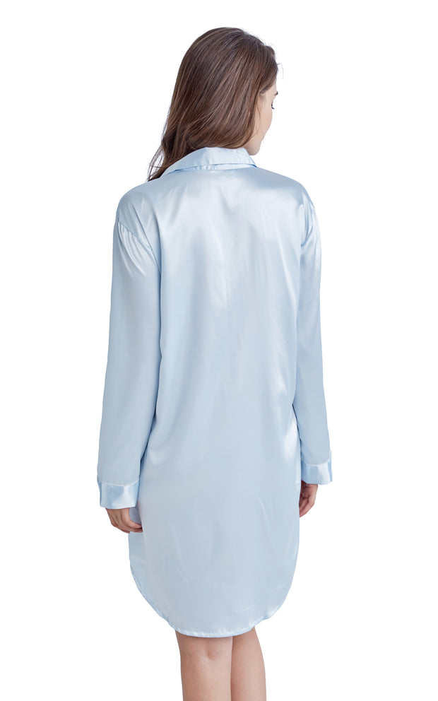Women's Satin Nightshirt Boyfriend Style Sleep Shirt-Light Blue with White Piping
