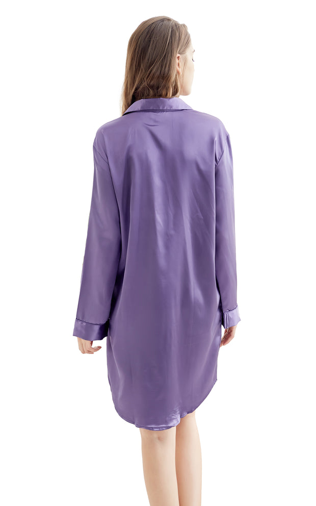 Women's Satin Nightshirt Boyfriend Style Sleep Shirt-Purple