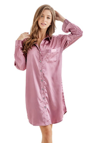 Women's Satin Nightshirt Boyfriend Style Sleep Shirt-Soft Plum