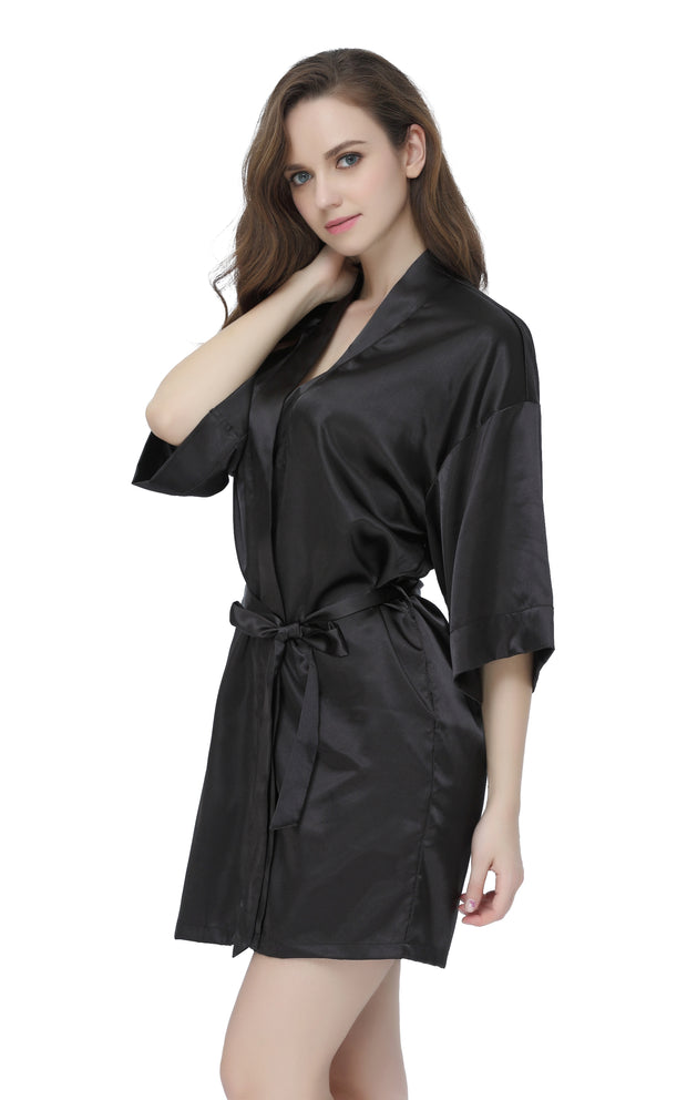 Women's Satin Short Kimono Robes-Black