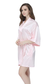 Women's Satin Short Kimono Robes-Light Pink