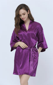 Women's Satin Short Kimono Robes-Purple