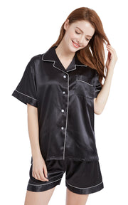 Women's Silk Satin Pajama Set Short Sleeve- Black with White Piping