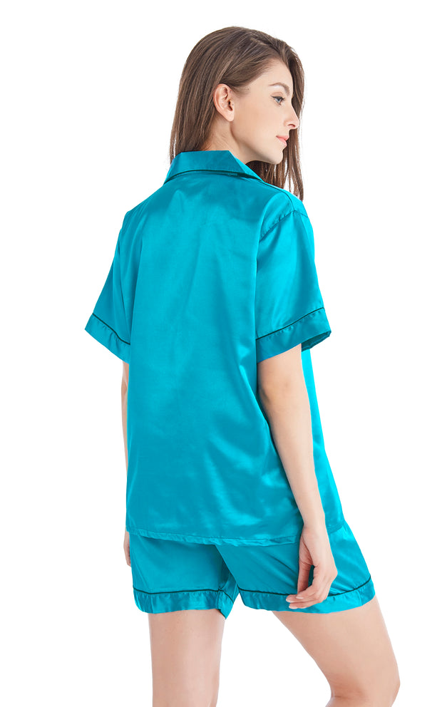 Women's Silk Satin Pajama Set Short Sleeve- Deep Ocean Green with Black Piping
