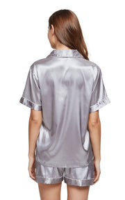 Women's Silk Satin Pajama Set Short Sleeve- Gray with White Piping