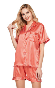 Women's Silk Satin Pajama Set Short Sleeve- Living Coral with White Piping