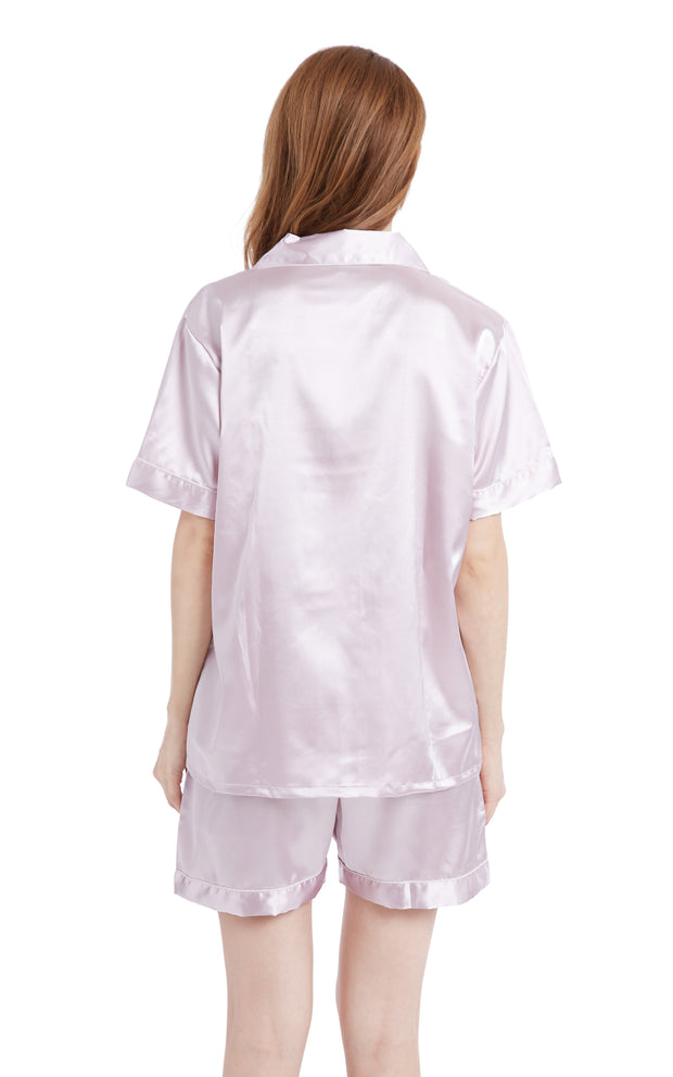 Women's Silk Satin Pajama Set Short Sleeve- Light Pink with White Piping