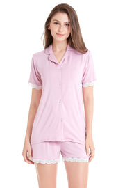 Women's Knit Pajama Set Short Sleeve with Lace