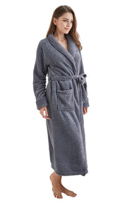 Women's Plush Fleece Robe, Warm Long Bathrobe-Gray (Ship to US Address ONLY)