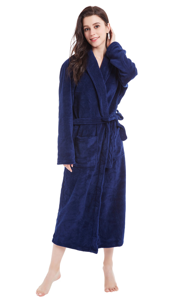 Women's Plush Fleece Robe, Warm Long Bathrobe-Navy Blue (Ship to US Address ONLY)