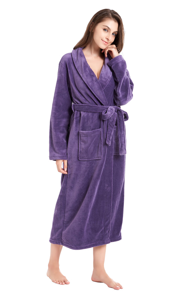 Women's Plush Fleece Robe, Warm Long Bathrobe-Purple (Ship to US Address ONLY)