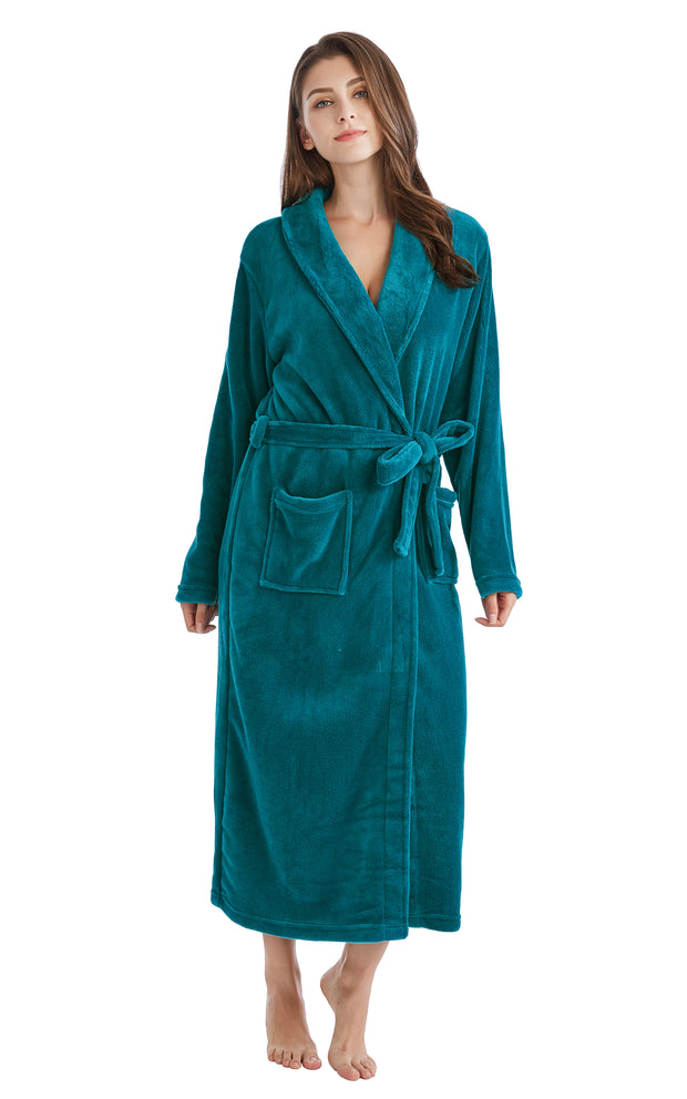 Women's Plush Fleece Robe, Warm Long Bathrobe-Deep Ocean Green (Ship to US Address ONLY)