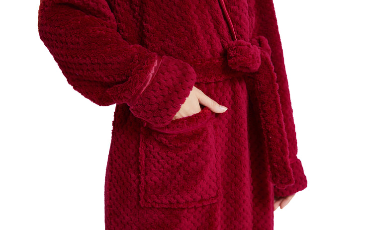 Women's Plush Fleece Robe, Warm Long Bathrobe-Burgundy (Ship to US Address ONLY)