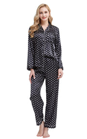 Women's Silk Satin Pajama Set Long Sleeve-Black and White Polka Dot