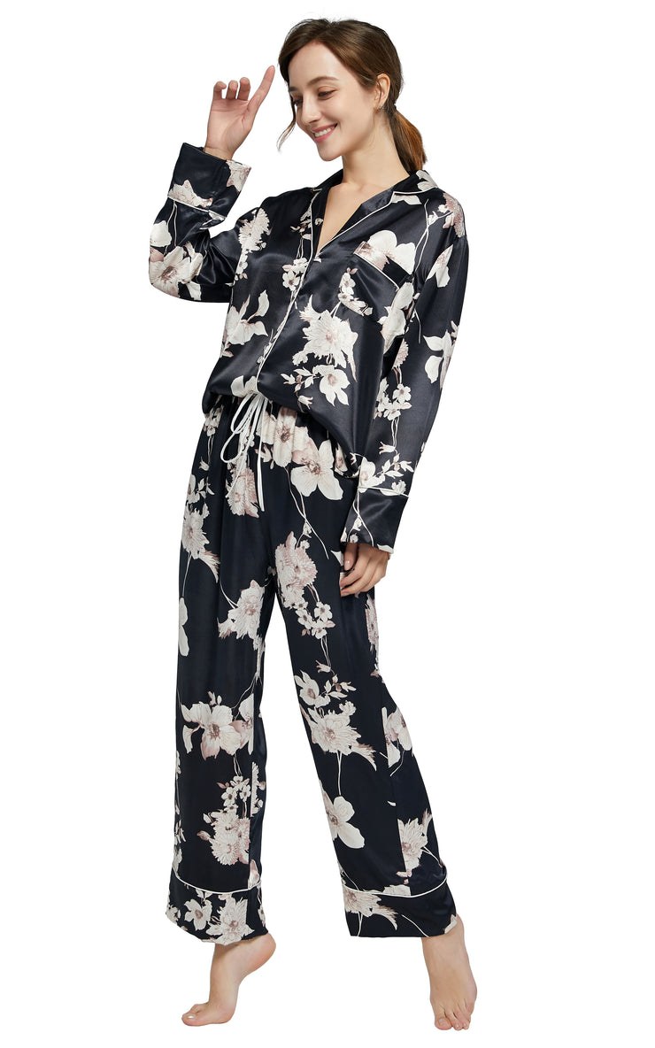 Women's Silk Satin Pajama Set Long Sleeve-Black with Blooms
