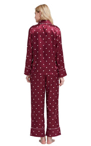 Women's Silk Satin Pajama Set Long Sleeve-Burgundy with Hearts