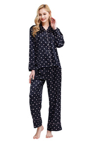 Women's Silk Satin Pajama Set Long Sleeve-Dark Navy with Hearts