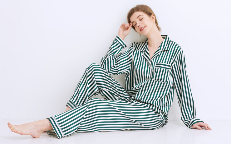 Women's Silk Satin Pajama Set Long Sleeve-Green and White Striped