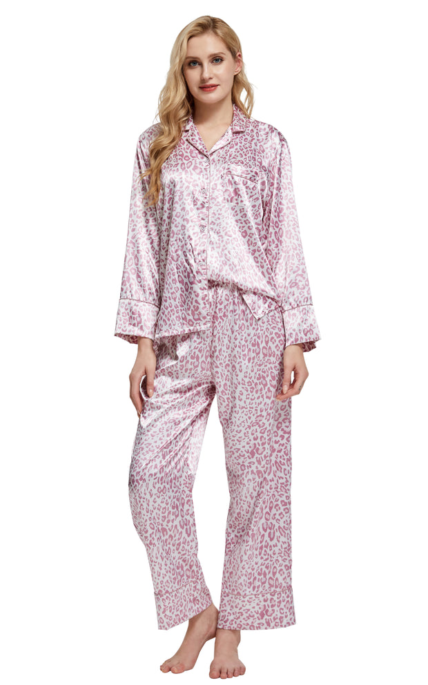 Women's Silk Satin Pajama Set Long Sleeve-Pink Leopard Print