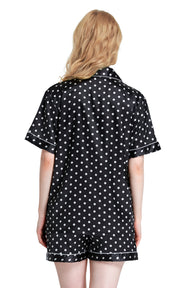 Women's Silk Satin Pajama Set Short Sleeve- Black and White Polka Dot