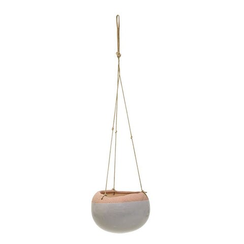 Stoneware Hanging Planter w/ wood beads