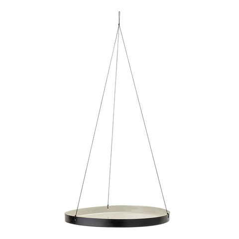 Round Enameled Hanging Tray, Grey