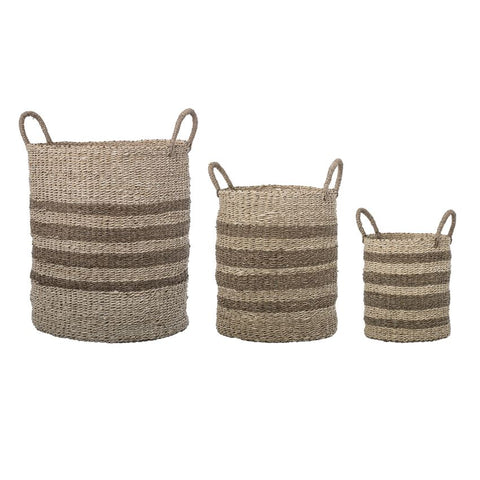 Natural Seagrass & Palm Baskets w/ stripes and handles, set of 3
