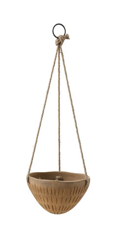 Embossed Terra-cotta pot w/ Jute hanger