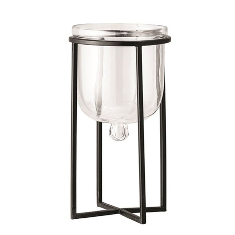 Glass Planter w/ Metal Stand, Black