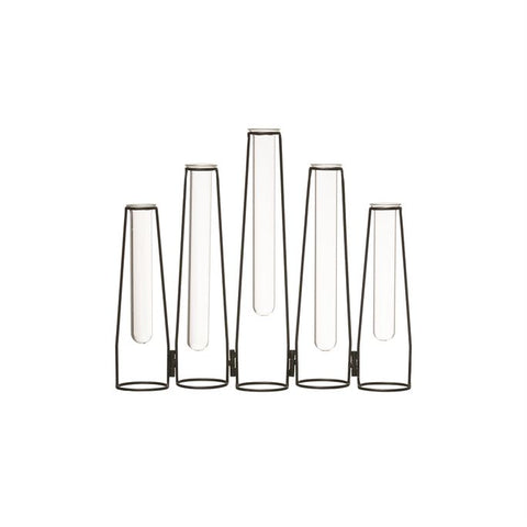 Metal Vase w/ 5 Glass test tubes, Black