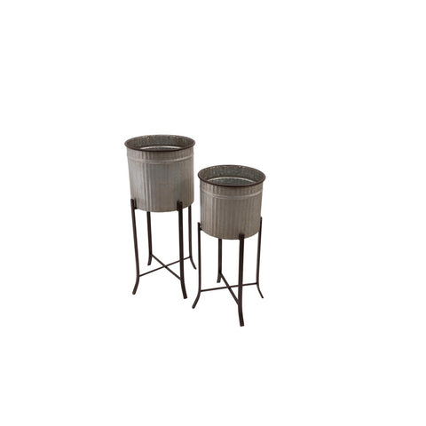 Corrugated Metal Planters w/ stand, set of 2