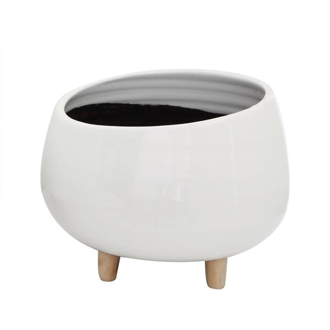 Rounde Ceramic Planter w/ Wood Feet, white