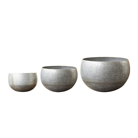 Galvanized Metal Planters, set of 3