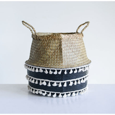 Natural Seagrass Collapsible Basket w/ Cotton tassle trim, Black & White