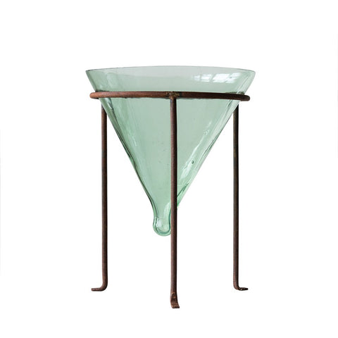 Recycled Glass Cone Planter w/ Metal stand (medium)