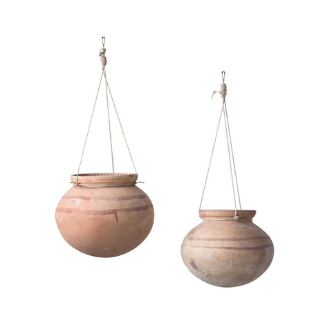 Hanging Clay Pot w/ Jute hanger