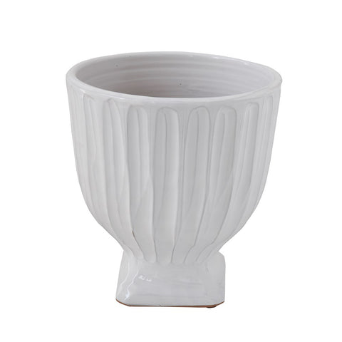 Terra-cotta Planter, White