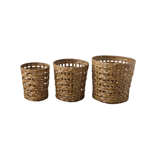 Woven Bamboo Bushel Baskets, set of 3