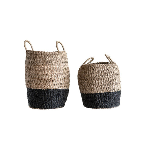 Natural Woven Seagrass Baskets w/ handles, Natural & Black, set of 2