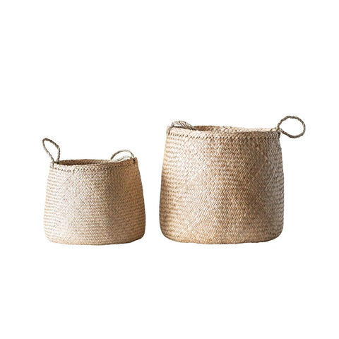 Natural Woven Seagrass Baskets w/ handles, set of 2